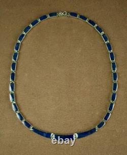 Beau Collier Ancien En Argent Massif Et Lapis Lazuli