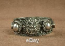 Bel Important Bracelet Manchette Ancien En Argent Massif Chine Indochine