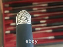 Belle Serie De 12 Couteaux Anciens En Ebene Lame Argent Massif Orfevre Piault