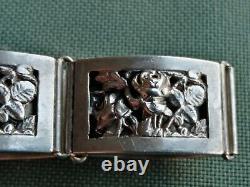 Bijou ancien bracelet argent massif, décor de roses