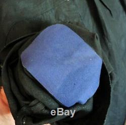 Blouse de maquignon ancienne/Biaude/Blaude en lin noir/ Boucle col argent massif