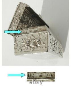 Boite écrin à Bijoux timbres ancienne ARGENT MASSIF XIXe