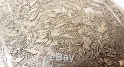 Boite étui à cigarettes en argent massif ciselé Ancien vers 1920 silver box