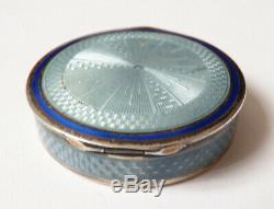 Boite poudrier ancien en ARGENT massif + émail vers 1920 silver enamel box
