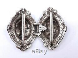 Boucle de ceinture ancienne en argent massif époque Empire XIXeme