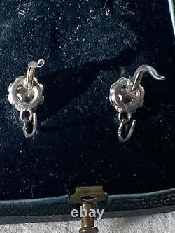 Boucles Doreilles Anciennes Dormeuses Argent Antique Victorian Paste Earrings
