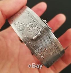 Bracelet Ancien Ciselé Napoléon III En Argent Massif