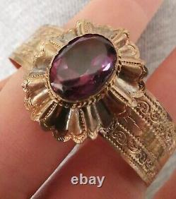 Bracelet Ancien Ciselé Vermeil Napoléon III Avec Améthyste Petit Taille