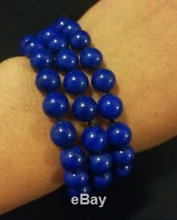 Bracelet Ancien Lapis Lazuli Fermoir En Argent Massif