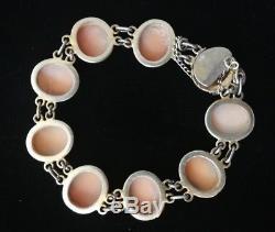 Bracelet Ancien Vermeil Argent massif Avec Camées en coquillage