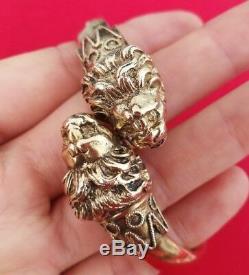 Bracelet Ancien Vermeil En Argent! Massif Avec 2 Têtes De Lion