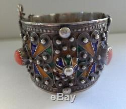 Bracelet Argent Ancien Email nord afrique, Antique Silver Bangle