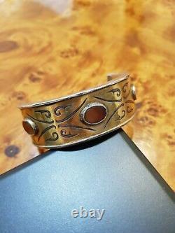 Bracelet Argent Cornaline Doré Tekke Turkmene Afghanistan Ancien Berbère