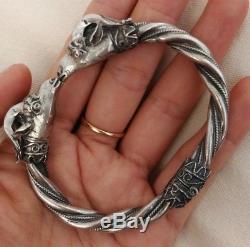 Bracelet Bélier Ancien En Argent Massif