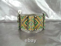 Bracelet Berbère Argent Email Maroc, Ancien Bracelet Manchette Argent Maroc