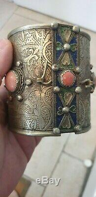 Bracelet De Cheville Kabyle Berbere Ancien En Argent Et Corail Rouge 200 Grs