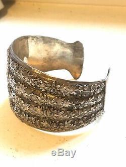 Bracelet Manchette En Argent Ancien 19e Antique Victorian Silver Cuff Bracelet
