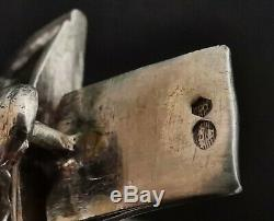 Bracelet ancien 19e en argent massif, art nouveau