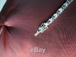 Bracelet ancien argent massif 925 et 26 aigue marine taille 18 cm