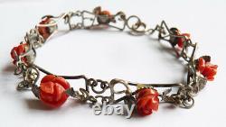 Bracelet ancien argent massif et corail coral silver bracelet 1900 corallo