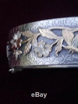 Bracelet ancien en argent massif avec oiseau et fleur papillo napoleon 3