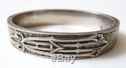 Bracelet ancien en argent massif + galuchat Art Nouveau 1900 silver