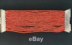 Bracelet ancien perle en corail en argent massif vers l'année 1900