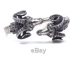 Bracelet jonc ancien vintage en argent massif tête de belier