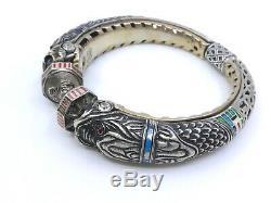 Bracelet jonc vintage ancien en argent massif émaillé tête de chimère signé