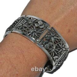 Bracelet manchette ancien en argent massif 925 fleur edelweiss bijou
