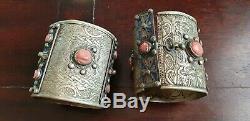 Bracelets De Chevilles Kabyle Berbere Ancien En Argent Et Corail Rouge 400 Grs