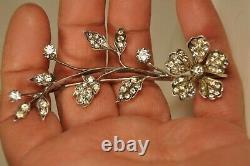 Broche Ancien Argent Massif Antique Solid Silver Rhinestones Brooch