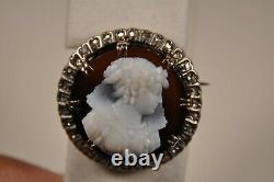 Broche Ancien Or Massif 18k Argent Camee Cornaline Diamonds Antique Cameo Brooch