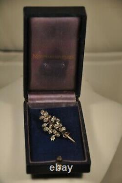 Broche Ancien Or Massif 18k Argent Diamants Antique Gold Silver Diamond Brooch