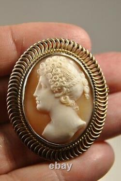 Broche Camee Ancien Argent Massif Antique Carved Shell Cameo Solid Silver