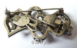 Broche ancienne en ARGENT massif et strass elle fait clip transformation brooch