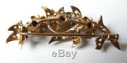 Broche ancienne en ARGENT massif + strass 19e siècle fleurs silver brooch