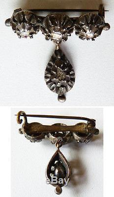 Broche bijou ancien en ARGENT massif + diamants taille rose 18e siècle régional