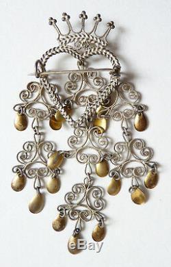 Broche de mariage Norvège argent massif Bijou ancien silver couronne solje