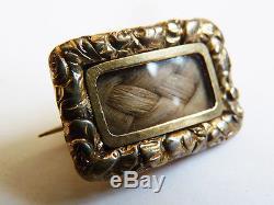 Broche vermeil cheveux tressés Ancien bijou de deuil 19e silver mourning jewel