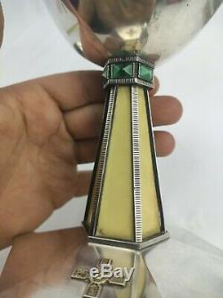 Calice patène ancien en argent massif vermeil art déco cabochon malachite et os
