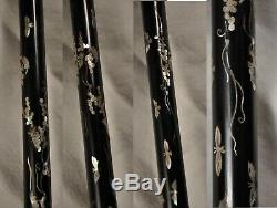 Canne Ancienne Chinois Nacre Argent Massif Antique Chinese Walking Cane Stick
