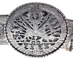Ceinture ancienne en argent massif Empire Ottoman XIXeme blason