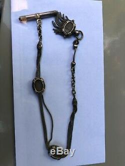 Chaine montre à gousset ancienne argent massif old chain watch silver fleurs LYS