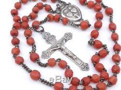 Chapelet ancien en argent massif et perles de corail rouge XIXeme