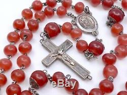 Chapelet ancien en argent massif et perles pate de verre croix reliquaire XIXeme