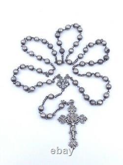 Chapelet ancien tout en argent massif avec jolie croix ajourée XIXe