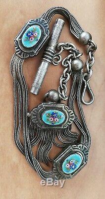 Châtelaine émaillée de montre ancienne En Argent Massif