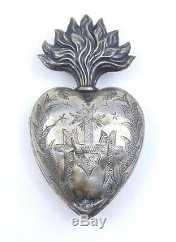 Coeur de Marie ancien en argent massif reliquaire Ex voto XIXeme