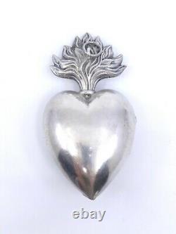 Coeur de Marie ancien en argent massif reliquaire Ex voto XIXeme (2)